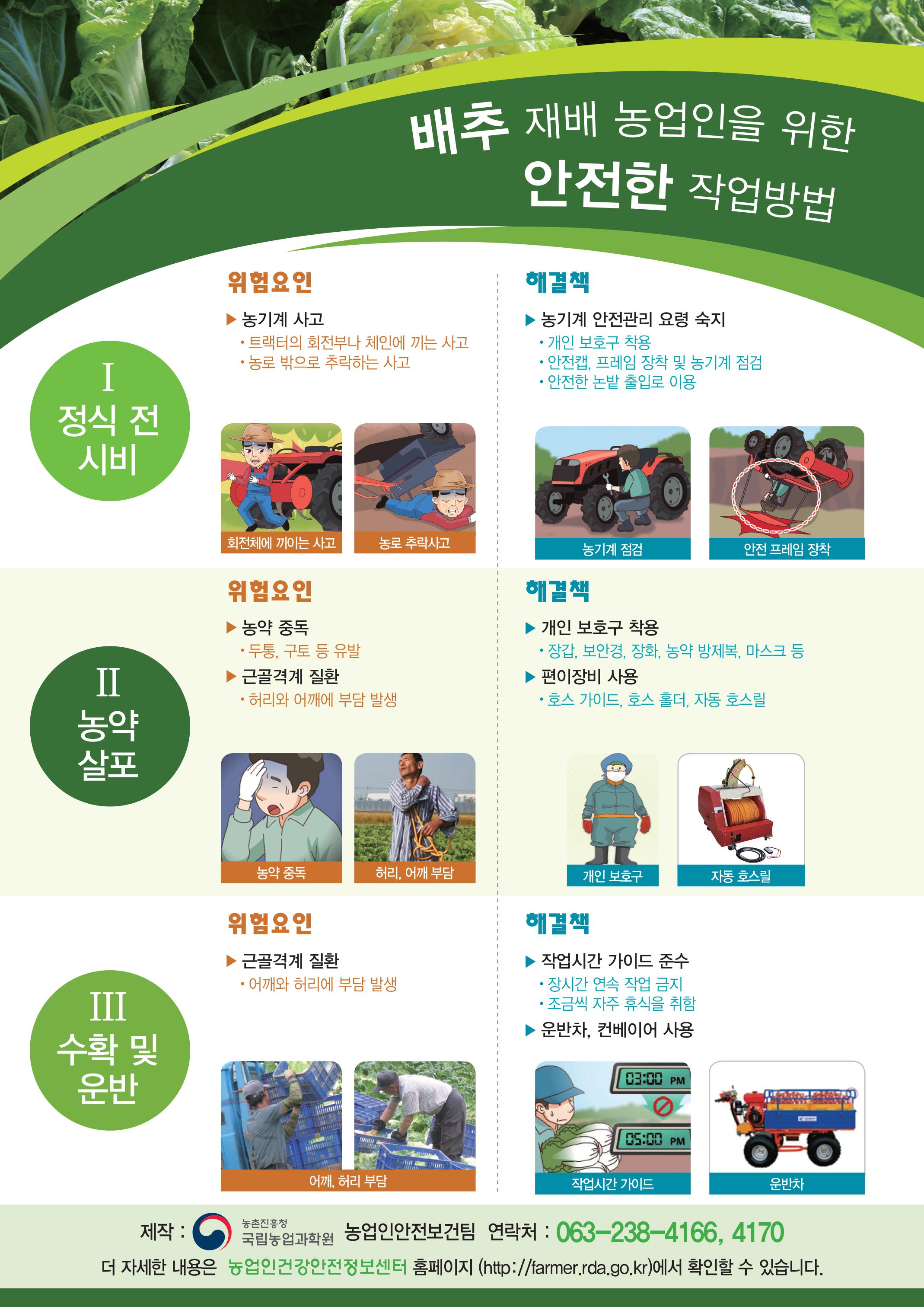 배추 재배 농업인을 위한 안전한 작업방법 포스터입니다.