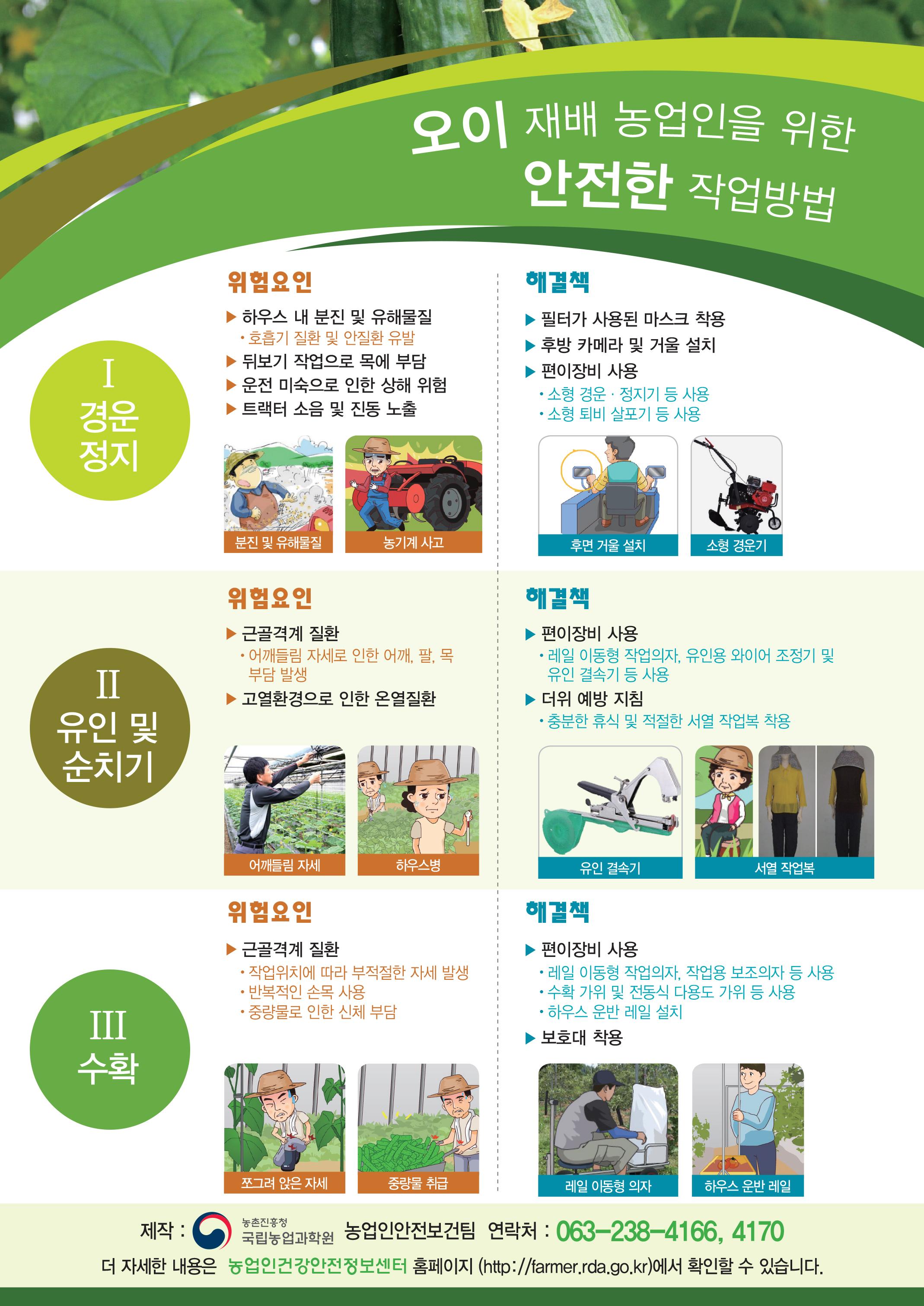 오이 재배 농업인을 위한 안전한 작업방법 포스터입니다.