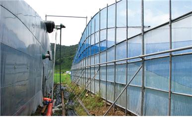 방풍벽 설치 광경