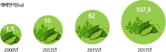 연도별 여주 재배면적 - 2000년 1.5ha, 2012년 10ha, 2015년 62ha, 2017년 107.9ha