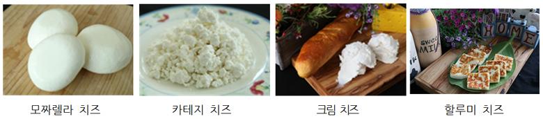 모짜렐라 치즈, 카테지 치즈, 크림 치즈, 할루미 치즈